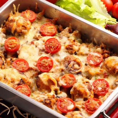 Cheesy Beef, Tomato, and Rice Bake