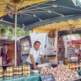 Selling Garlic by Ad Spruijt - City,  Street & Park  Markets & Shops