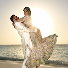 Indian Beach Wedding by Andrew Morgan - Wedding Bride & Groom ( colour, zanzibar, dress, wedding, sea, beach )