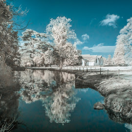 Ardington church from the water by Gordon Bishop - Digital Art Places ( sky, colour changed, blue, wantage, infrared, white, reflections, ardington )