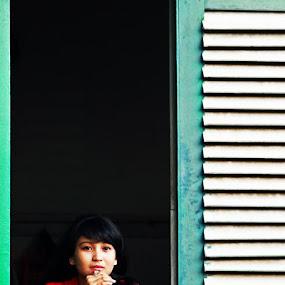 Girls in the window by Adi Mumun'k - People Street & Candids ( home, girls, window, street, camdid )