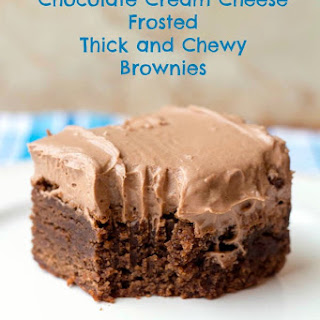 Chocolate Cream Cheese Frosted Thick and Chewy Brownies