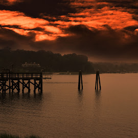 Sunset at the Port by Lorraine D.  Heaney - Landscapes Sunsets & Sunrises