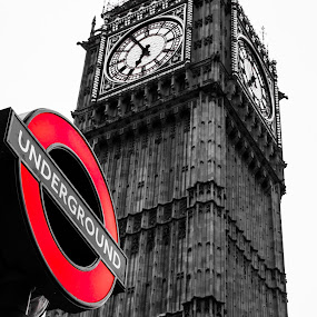 Big Ben by the tube by Matt Cooper - Buildings & Architecture Public & Historical ( blackandwhite, england, red, london, drama, city )
