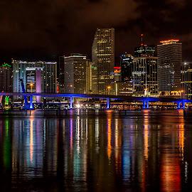 Miami Skyline by Ken Wagner - City,  Street & Park  Night ( skyline, waterscape, miami, night, bridges )