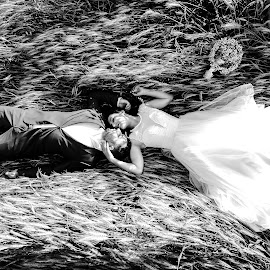 Happy by Doru Iachim - Wedding Bride & Groom ( love, black and white, grass, happy, bride, groom )