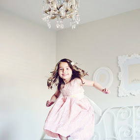 jumping on the bed by Monica Franco-Pineda - Babies & Children Child Portraits ( jumping, girls room, children, pink, cute )