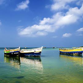 Waiting by Vijayanand K - Transportation Boats ( fishing boats, boats, sea, fishing, boat, anchored boats )
