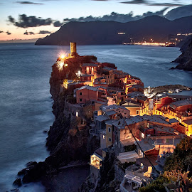 NIght in Vernazza by Jimmy Kohar - City,  Street & Park  Night