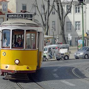 Lisbon View XV by Joatan Berbel - City,  Street & Park  Street Scenes ( cultural heritage, railway, colorful, street art, transportation, street photography )