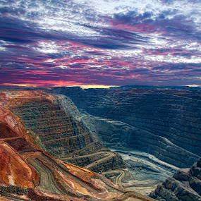Super Pit Kalgoorlie Western Australia by Loredana  Smith - City,  Street & Park  Vistas ( work, mining, country, city, super, life, australia, dig, mine, pit, town, wa, gold, path, nature, landscape )