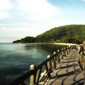 Bridge & Beach, Seychelles by Peter Wabbel - Buildings & Architecture Bridges & Suspended Structures ( water, color, masterorthemoment, reflections, landscape, palma de mallorca, pwcreflections-dq )