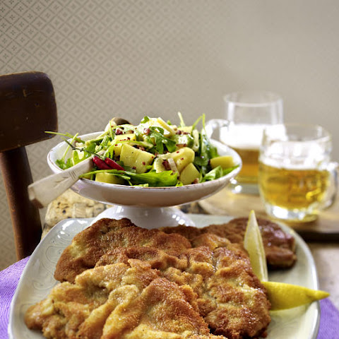 Beef Schnitzel with Bacon, Potato and Avocado Salad