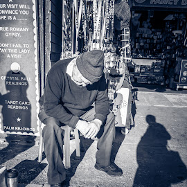 Watching The Shadow by Gary Chadbond - People Street & Candids ( blackandwhite, black and white, candids, street, capture, candid, streets, blackpool, stranger, people, city, street photography )