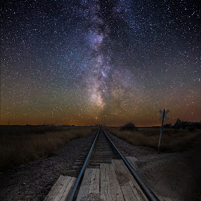 Railroad Crossing by Aaron Groen - Landscapes Starscapes ( sky, astro, railroad, stars, railroad crossing, dark, track, south dakota, night, galaxy, milky way )