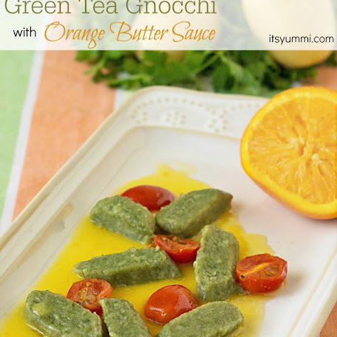 Green Tea Gnocchi with Orange Butter Sauce