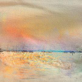 Polite Rainbow by Danette de Klerk - Digital Art Places ( rainbow, effects, south africa, boats, water, landscape, digital art )