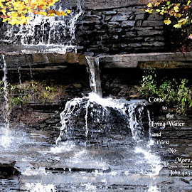 Living Water by Jeff Dalton - Typography Quotes & Sentences ( waterfalls, waterfall, image, pictures, nature pics, pic, picture, pics, waterfall pics, bible quotes, quotes, nature, bible quote, quote, images, bible verses, bible verse )