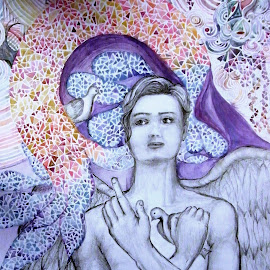 without title by Vesna Disich - Drawing All Drawing ( angel, vesna disich, watercolors, art )