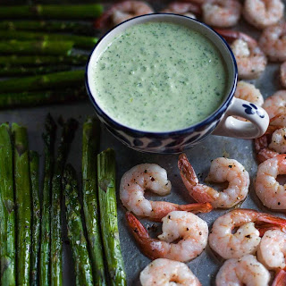Roasted Shrimp and Asparagus with Green Goddess Dressing