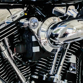 Chrome Side by Lawrence Ferreira - Transportation Motorcycles ( harley davidson, harley, abstract, photograph, clean, chrome, motorcycle, transportation, gleeming, pristine, reflective, shiny )