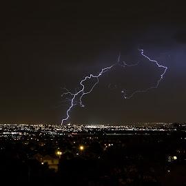 Desert City Lightning by Jeff Harmon - Landscapes Weather ( lightning, desert, salt lake, valley, bolts, city )