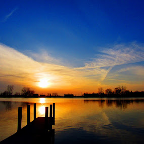 Down By The River by Howard Sharper - Landscapes Waterscapes ( riverside, sunset, cloudscape, reflections, docks,  )
