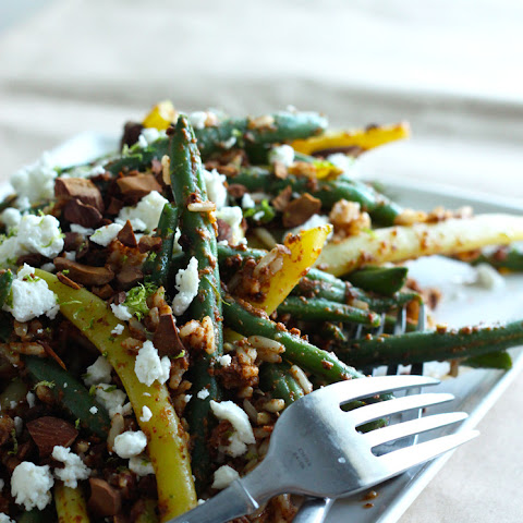 Beans + Rice Toss With Spicy Roasted Almond Salsa