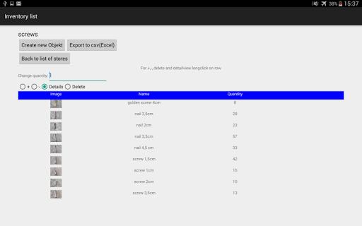 Inventory - screenshot