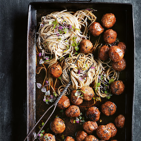 Sticky Sesame And Ginger Pork Meatballs With Soba Noodles