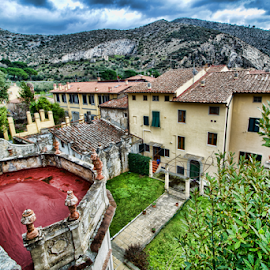 San Giuliano Terme( Tuscany, Italy) by Gianluca Presto - City,  Street & Park  Historic Districts ( home, houses, tuscany, hdr, architectural detail, historic district, house, architecture, city, mountains, ancient, sky, village, architectural, homes, garden, italy, balcony )