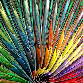 Rainbow Fan by Peggi Wolfe - Illustration Abstract & Patterns ( abstract, wolfepaw, jwildfire, gift, unique, bright, illustration, fun, fan, digital, print, décor, pattern, color, unusual, fractal, rainbow )