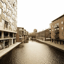 birmingham by Kathleen Devai - Buildings & Architecture Office Buildings & Hotels ( office, water, sepia, buildings, canal, city )
