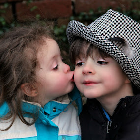 I Love My Brother by Freda Nichols - Babies & Children Children Candids ( playing, sister, kissing, sweet, children, brother, hat,  )