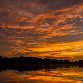 Golden Evening by Topu Saha - Landscapes Sunsets & Sunrises ( clouds, bangladesh, sunrises, nature, sunset, cloud, mymensingh, sunrise, landscape,  )