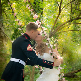 Romance  by Brandi Davis - Wedding Bride & Groom ( wedding, outdoors, flowers, bride, swing, groom )