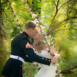 Romance  by Brandi Davis - Wedding Bride & Groom ( wedding, outdoors, flowers, bride, swing, groom )