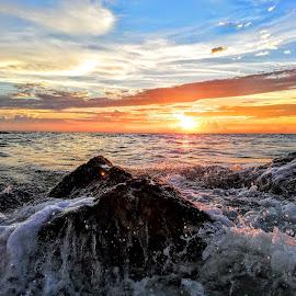 Western Gulf Coast Sunsets ~ along the seawall  by Jeffrey Lee - Landscapes Sunsets & Sunrises ( western gulf coast sunsets ~ along the seawall )