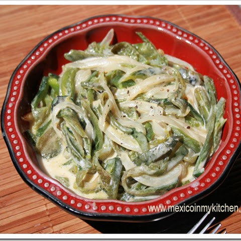 Poblano Pepper Strips with Cream / Rajas de Chile Poblano con Crema