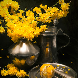 Yellow by Jack Hardin - Artistic Objects Still Life ( classical, pewter, still life, yellow, antique )