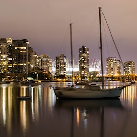 Vancouver by Cory Bohnenkamp - City,  Street & Park  Vistas ( stadium, vista, night, bridge, boat, vancouver, city )