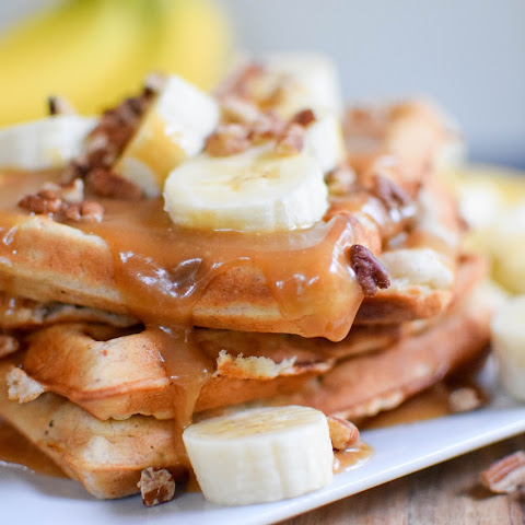Banana Waffles with Peanut Butter Syrup