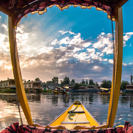 The Floating Market by Sarang Bhagat - Transportation Boats ( #boats, #sunset, #reflections, #nature, #incredibleindia, #j&ktourism, #travel, #lake, #srinagar )