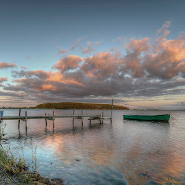 Pieceful evening by Kim  Schou - Landscapes Waterscapes ( clouds, sky, hdr, sunset, boats, nakskov fjord, jetty, lolland )