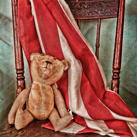 Tattered Teddy by Vivian Gordon - Artistic Objects Toys ( vigor, bear, chair, flag, toy, collectible, antique )