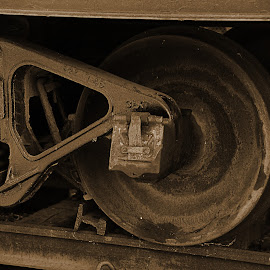 Antique Train Wheels  by Lorraine D.  Heaney - Transportation Trains