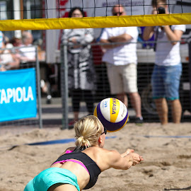 Beach volley by Simo Järvinen - Sports & Fitness Other Sports ( sand, ball, volleyball, woman, outdoor, beach volley, sports, summer, spectators, game )