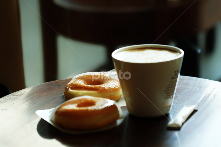 cappuccino by Ismed  Hasibuan  - Food & Drink Alcohol & Drinks ( cappuccino, food, donut, cafe, drinks )