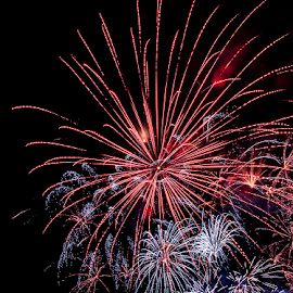 Fireworks red by Jeff McVoy - Abstract Fire & Fireworks ( red, blast, explosion, fireworks, sparkle, celebration, fire, bang )