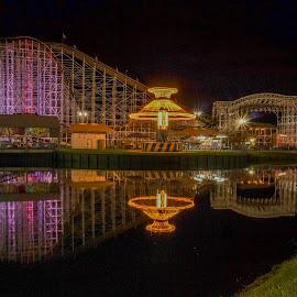 coaster reflection by Michael Graham - City,  Street & Park  Amusement Parks ( ride, wooden roller coaster, amusement park, florida, theme park, roller coaster,  )